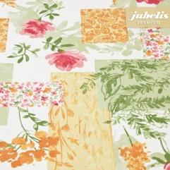 Baumwolle beschichtet strukturiert Blumenpatch III 160 cm x 140 cm Bauerntisch