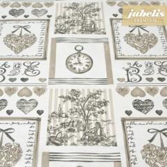 Baumwolle beschichtet strukturiert Clock creme III 200 cm x 140 cm