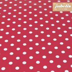 Baumwolle beschichtet abwaschbar kleine Punkte rot III 100 cm x 140 cm