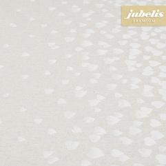 Baumwolle beschichtet strukturiert Many Hearts natur III 350 cm x 140 cm