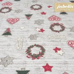 Baumwolle beschichtet strukturiert Merry Christmas III 140 cm Durchmesser rund