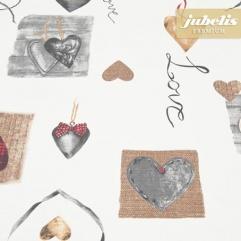Baumwolle beschichtet strukturiert Hearts weiß III