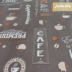 Wachstuch extradick mit Gewebe Coffeehouse schoko H 290 cm x 140 cm