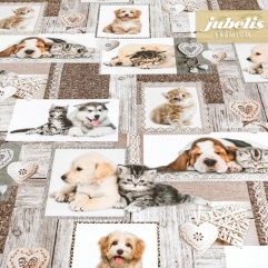 Textiler Luxus-Tischbelag Cani e gatti III 300 cm x 140 cm