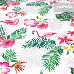 Wachstuch Flamingo weiß II 100 cm x 140 cm