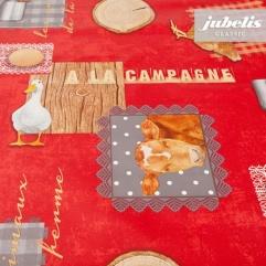 Wachstuch Bauernhof rot II 160 cm x 140 cm Bauerntisch