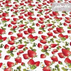 Wachstuch Erdbeeren mit Blüten II 100 cm x 140 cm