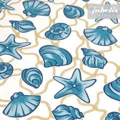 Wachstuch Muscheln blau M