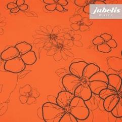 Wachstuch orange mit Blumen M