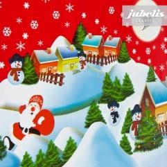 Wachstuch Weihnachten Schneemann rot P-H