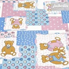 Wachstuch Teddybär blau-rosa M 100 cm x 140 cm