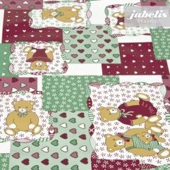 Wachstuch Teddybär grün-rot M