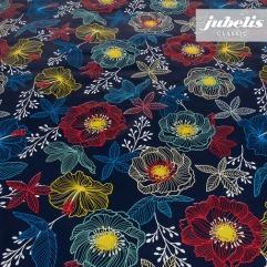 Wachstuch Future Flowers blau P 100 cm x 140 cm
