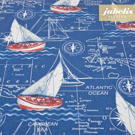 Baumwolle beschichtet abwaschbar Mare blau III 160 cm x 140 cm Bauerntisch