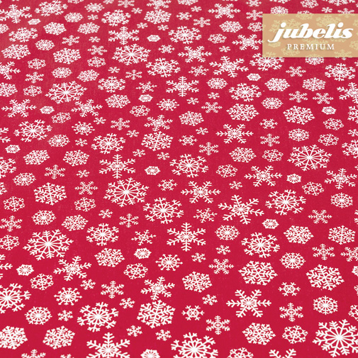 Baumwolle beschichtet strukturiert Snowflakes rot-weiß III