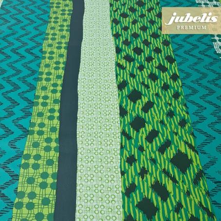 Wachstuch extradick mit Gewebe Tamara smaragd H R 100 cm x 140 cm