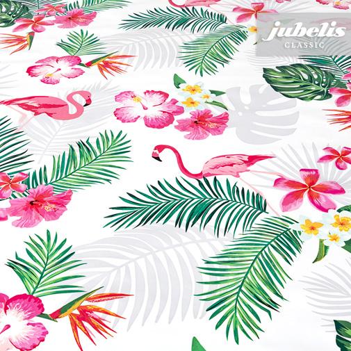 Wachstuch Flamingo weiß II