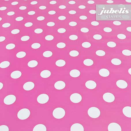 Wachstuch pink mit Punkten H 100 cm x 140 cm
