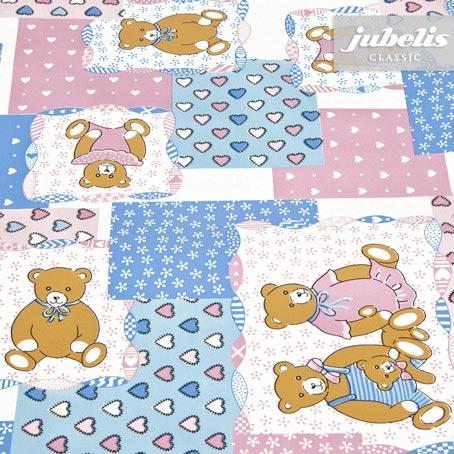 Wachstuch Teddybär blau-rosa M