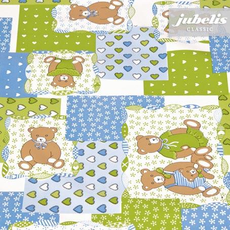 Wachstuch Teddybär grün-blau M 110 cm x 140 cm Küchentisch