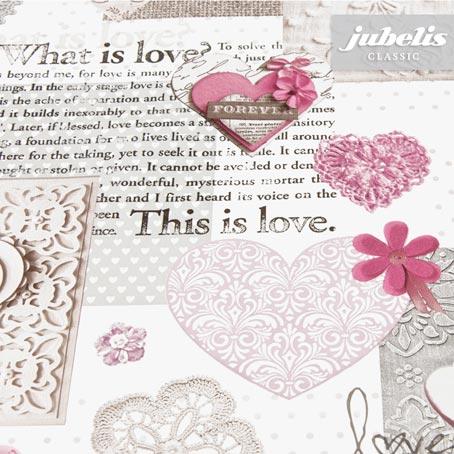 Wachstuch Vintage Love rosé II 130 cm x 140 cm