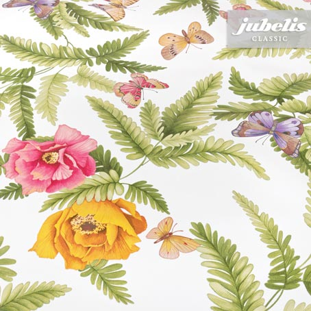 Wachstuch Butterfly Flowers II 240 cm x 140 cm für Biertische (auf Wunsch geteilt = 2 Decken)