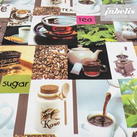 Wachstuch Cafe and Tea P 140 cm Durchmesser rund
