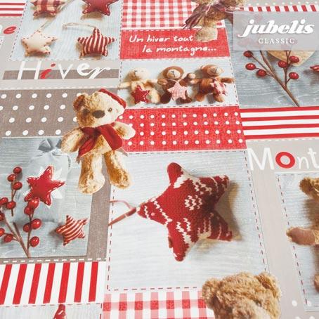Wachstuch Teddy rot I 110 cm x 140 cm Küchentisch
